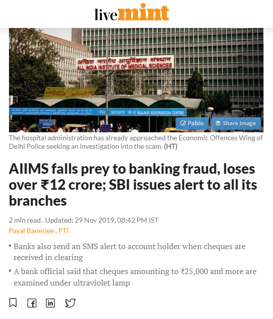 article about AIIMS cheque fraud